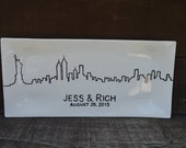 Long Rectangular Custom Signature Guestbook Platter - Personalized Skyline - NYC - New York City - Chicago - Pick Your City
