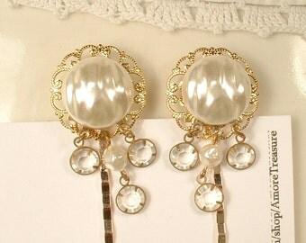 Vintage Pearl & Rhinestone Gold Bridal Hair Pins, Pair Gold Wedding Hair Clips Hairpins, Clear Crystal Bobby Pins Set of 2 Bridesmaids Gifts