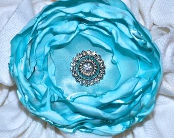 SALE!! Beautiful Aqua Flower Hair Clip with Silver Rhinestone