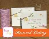 Reserved Listing for Birds, Bees, and Butterflies Thank You Notes and Diaper Raffle Card PDF Files for Tori