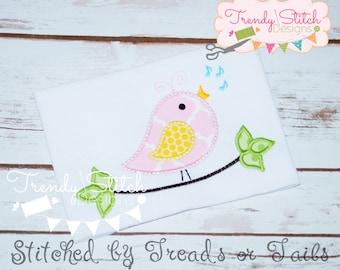 Bird on Branch Applique Machine Embroidery Design INSTANT DOWNLOAD