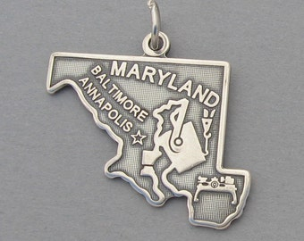 Sterling Silver .925 Charm Pendant MARYLAND State Map SC619