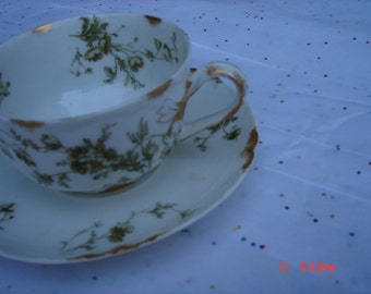 Antique H & Co. L France Porcelain Cup and Saucer - Haviland and Co. Limoges - Beautiful