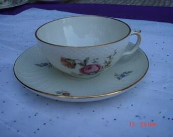 Antique Royal Copenhagen Denmark Floral  Bone China Teacup and Saucer - Beautiful