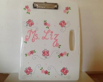 Personalized clipboard storage case- Butterfles, Flowers- teachers, nurses,doctors  birthdays, school projects,