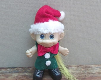 "CHRISTMAS TROLL DOLL, 3 1/2"" Tall, Unmarked, Blue Eyed Blonde, Vintage Holiday Collectible, Figure"