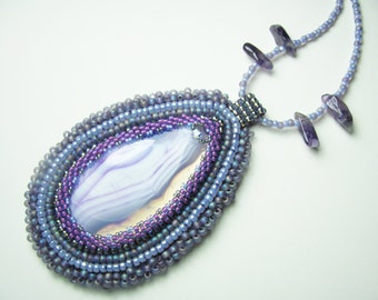 Bead Embroidered Purple Onyx Agate Peyote Stitched Bezel Beaded Necklace Pendant Amethyst and Swarovski Crystal-SRAJD