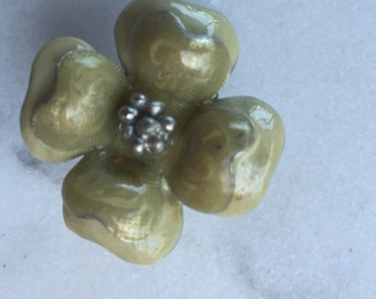 1 Aged old enamel cream Rose buds, metal finding, with stone hips