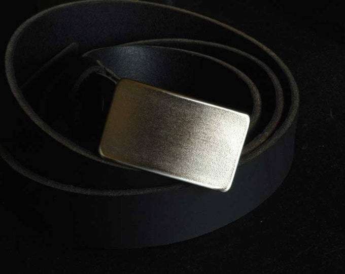"Kids Belt Buckle Hypoalergenic Raw Hand Forged Stainless Steel Classic Belt Buckles Unisex Signed Original Fits 1.25"" Belt for Suits/Casual"