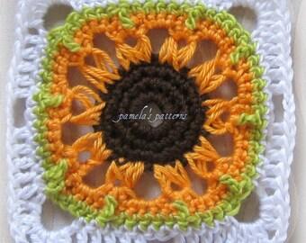 "Crochet Broomstick 7"" (18 cm) Granny Square PDF Pattern, Sunflower"
