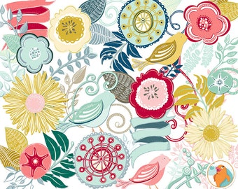 Retro Clip Art, Modern Flower ClipArt, Swirls and Flourish Illustrations, Card Making Floral Images, DIY Invitations, Instant download