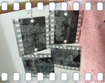 SALE Photo Negative Earrings, Santa Fe, Jackelope Trading Post, Bull Skull, Animal Skull, Cactus, New Mexico, Black and White Film, Recycled