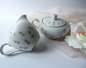 Reserved for Hazel Vintage Cream and Sugar Set 50s Harmony House Rosebud Pink