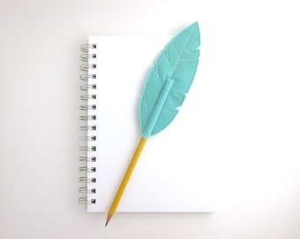 Aqua Feather Pencil Topper Quill Writer Wool Blend Felt, As Seen in Canadian Family Magazine