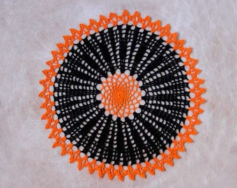 Orange and Black Crochet Lace Doily, New Table Decor, Modern Home Centerpiece