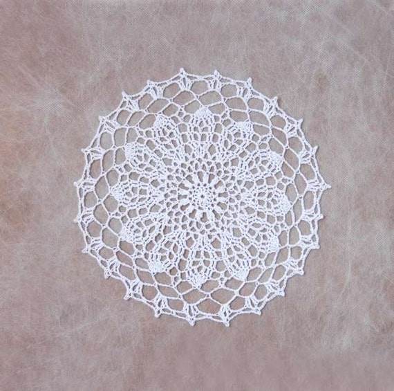 Winter White Decor Crochet Flower Doily, Lace Table Accessory