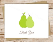 perfect pear, pair thank you cards - set of 8 - folded personalized note cards, stationery - wedding, engagement - can be personalized