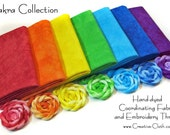 Hand Dyed Fabric & Thread Collection: Chakra Colors - 7 Fat Eighths + 7x10yds Perle Embroidery Thread