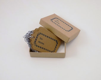 To & From Kraft Card Stock Tags in Blue Set of 20 Boxed with Bakers Twine Holiday Gift Tags Christmas Gift Tag