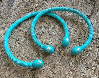 Lot of two Bohemian Torque Torc Bracelets - Hand painted bracelets -  EPSTEAM - adjustable cuff bracelet - slave bracelets - Celtic - Tribal