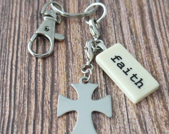 FAITH Key Chain Personalized Customized Domino Key Chain Gift for Godmother, mother, Aunt, Sister, Niece, Cousin by Kristin VIctoria Designs