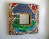 "Mosaic mirror, square, wall decor, rustic mirror, 12 x 12 "", eclectic, beach decor, bohemian,  sun sea sky , custom made mosaics,"
