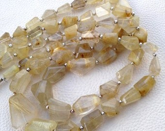 Brand New, 8 Inch Long Strand, Super NATURAL Golden Rutilated Quartz Faceted Nuggets, 15-20mm Long size,GORGEOUS
