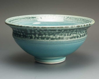 Handmade stoneware turquoise soup cereal rice ice cream bowl 2 cup 3600
