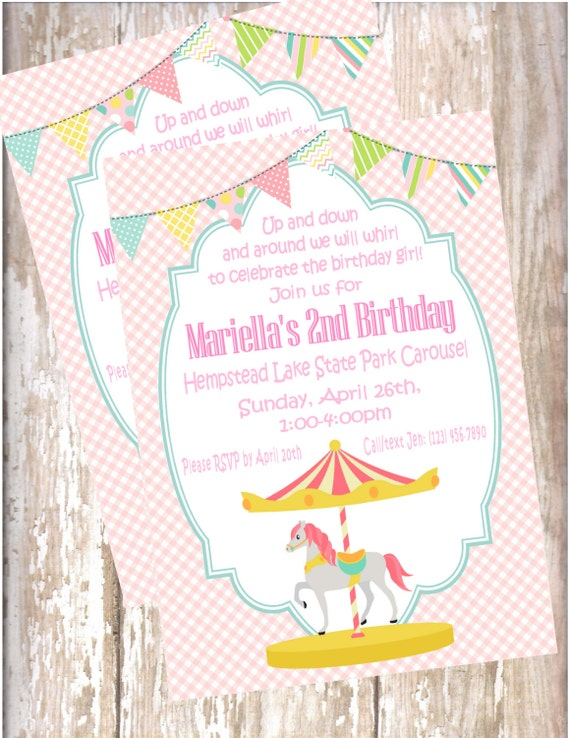 Product Search Girl BirthdayCarousel – Carousel Party Invitations