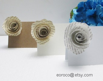 Set of 9 Book Paper Flower Placement Cards, Paper Flowers Wedding, Wedding Decorations Rustic, Wedding Decor Vintage, Place Cards Wedding