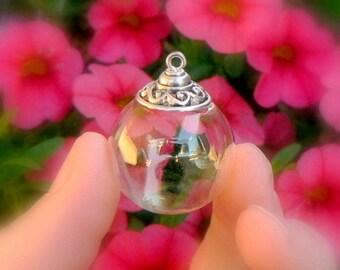 Glass BALLS w/ WAVE DESIGN caps (celtic/small/bulbs/vials/pendants/miniature/bottles/Christmas/tree/ornaments/silver/bead/surfing//waves)
