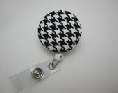Black and White Houndstooth Badge Reel - Vinyl-covered, wipeable available!