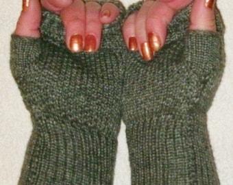 Luxury mink and merino wool fingerless gloves, wrist warmers