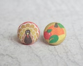 Happy Thanksgiving Fabric Button Earrings