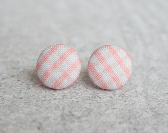 Pink Gingham Fabric Covered Button Earrings