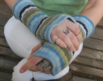 Fingerless gloves, arm warmers, txting gloves, upcycled, eco friendly, upcycled sweater in Stripes