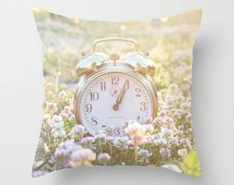 Im Late, Fine Art Photography, Pillow, Throw Pillow, Bedding, Home Decor, Nursery Decor, Time, Clock, Gold, Vintage, Photo, alice wonderland