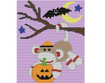 Plastic Canvas Sock Monkey Hanging on a Limb Instant Download