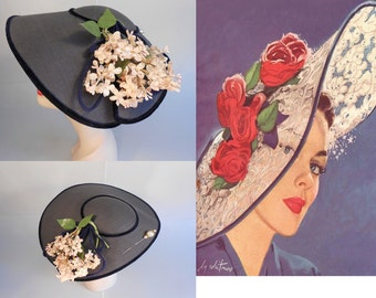 Mid Summer Wedding - Early 1950s Navy Faux Straw Platter Dish Wide Brim Hat w/Floral Side & Hat Pin