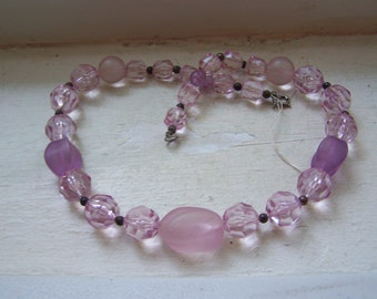 CLEARANCE Pink Purple Clear Matte Faceted Lucite Graduating Bead Necklace