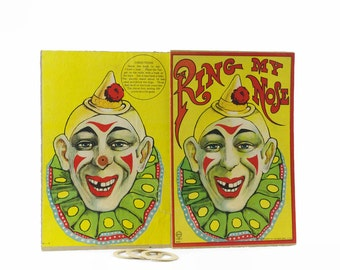 Ring Toss Game, Antique Board Game, Vintage Circus Decor, Clown Face, Ring My Nose