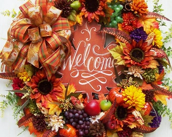 Fall Thanksgiving Autumn Wreath  With WELCOME Sign