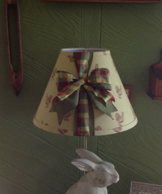 French Country Rooster Lamp Shade With Check And Green Ribbon