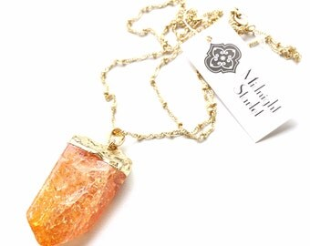 Sunset Orange Quartz Crystal Necklace.Matte Gold Chain. FAST Shipping w/ Tracking for US Buyers. Will Arrive to you in a Gift Box w/ Ribbon.