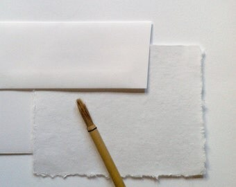 Elegant Deckle Edge Cotton Paper Stationary Set-Folded Cards
