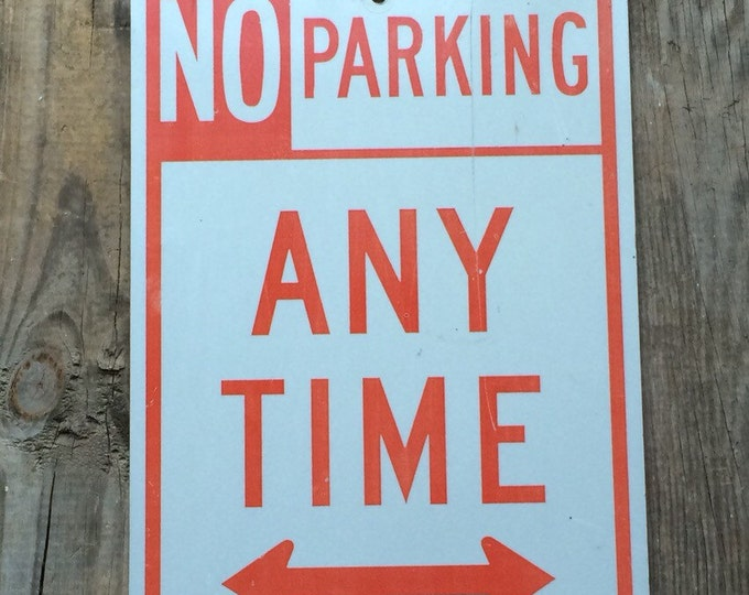 Vintage Metal No Parking Sign Red White Industrial Decor