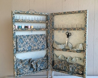 Vintage Floral Sewing Cabinet // Fold-Up Sewing Caddy // Craft Storage Organizer
