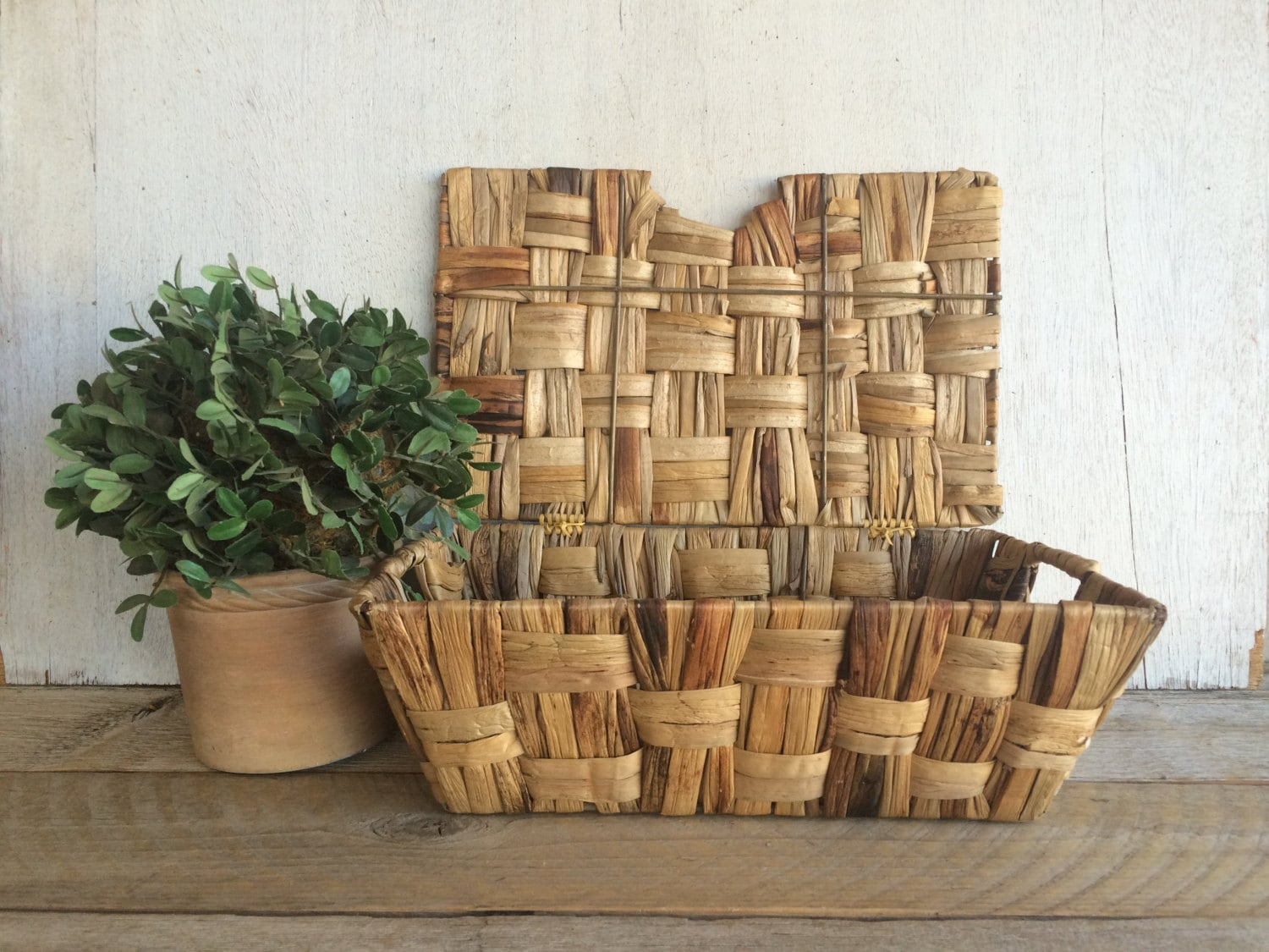 Woven Basket With Hinged Lid : Vintage woven wicker basket with hinged lid