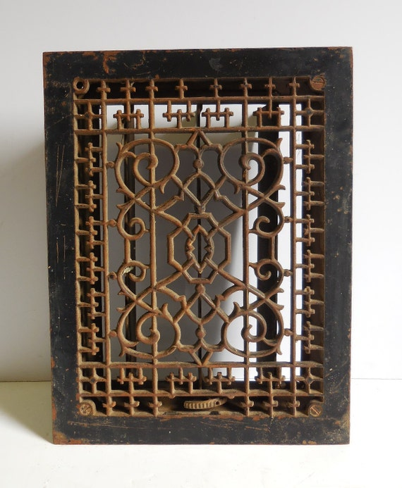 Antique Cast Iron Metal Grate Floor Wall Vent Architectural