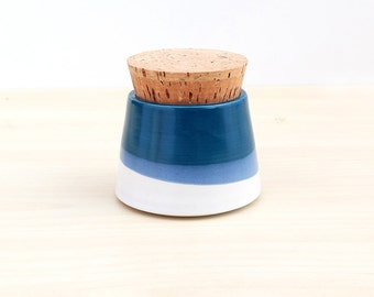 Small Pottery Canister - White + Navy
